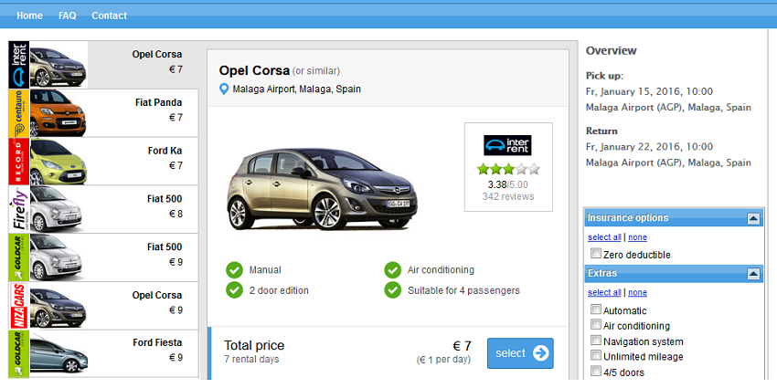An Opel Corsa in Malaga for 7€ per week